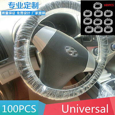 100pcs Clear Elastic Plastic Disposable Steering Wheel Covers for Car Auto Truck
