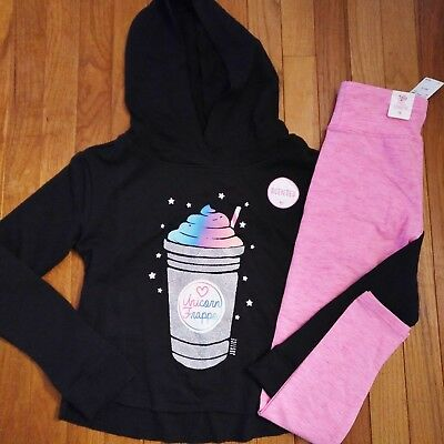 32a66e58a0 NWT Justice Girls Outfit Unicorn Latte Hoodie Leggings Size 6 7 8 14 16