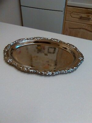 Vintage Silver Plated Oval Salver with Repousse Edge Decoration (1571)