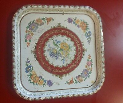 Vintage Daher Decorated Ware Round Tin Serving Tray Brown Floral