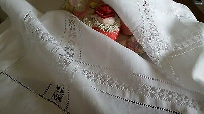 Antique Linen Tablecloth Drawn Threadwork