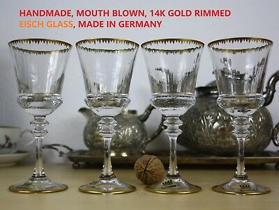 EISCH GERMANY 4 pieces of Wine Glass vintage HANDMADE MOUTH BLOWN gold trimmed