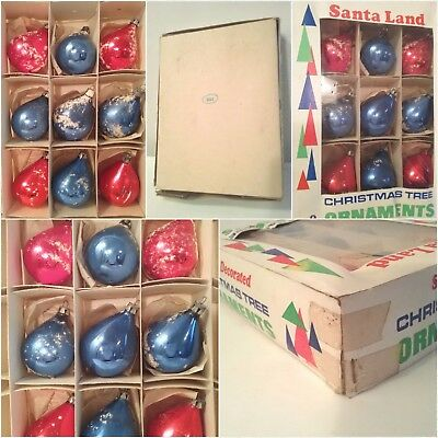 Vtg Lot Of 9 Glass Christmas Tree Ornaments In Box (No.51).