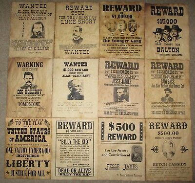 Wanted Posters Doc Holliday Billy the Kid Jesse James Pledge of Allegiance 12 Pc