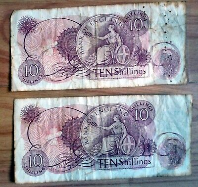2 Ten Shillings notes c 1970 free postage