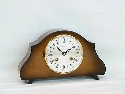 Charming Little Bentima Hermle Walnut Twin Strike Mantle Mantel Chime Clock
