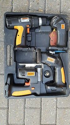 Cordless drill. Jigsaw . Sander And Torch Set