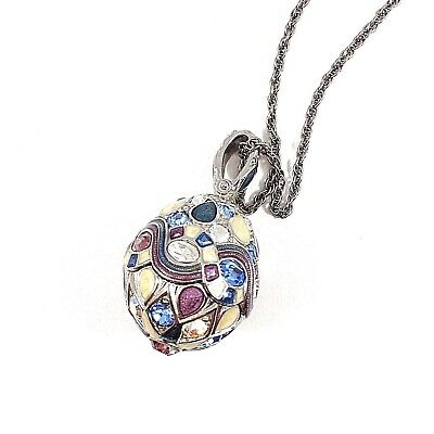 Joan Rivers Egg Pendant Necklace Faberge Multi Color Enamel Rhinestone Vintage