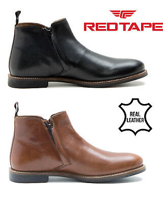 Red Tape Mens Leather Smart Casual Slip On Ankle Zip Boots Tabley Shoes Size UK