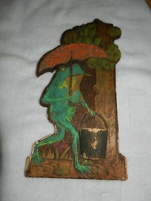 Frog with umbrella & Pail Antique Flemish Art Pyrography Match Holder Antique