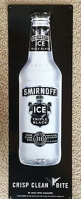 Smirnoff Ice Triple Black Premium Malt Beverage Tin Sign, Crisp Clean Bite, Nice