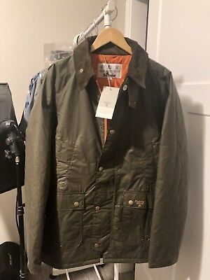 NWT Men's Barbour Wax Cotton Lingmell Insulated Ashby Badel Jacket XL Olive