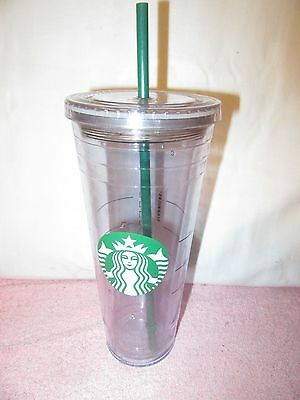 Starbucks Reusable Drink Glass Tumbler Cold Cup w/Straw - Clear Acrylic Venti -a