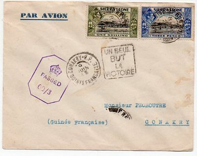 1943 Sierra Leone To French Guinea Airmail Censored Cover, Nice Stamps