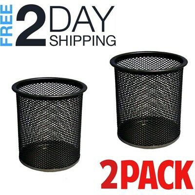 Mesh Pencil Holders Metal Wire Pen Cup Office Desk Supply Caddy Organizer Black