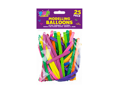 25 -Pack Of PARTY BALLOONS MIXED COLOURS 260q Traditional For Modelling Magic