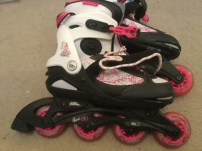 Inline Roller Skates Size 4 - 6.5 Black White And Pink