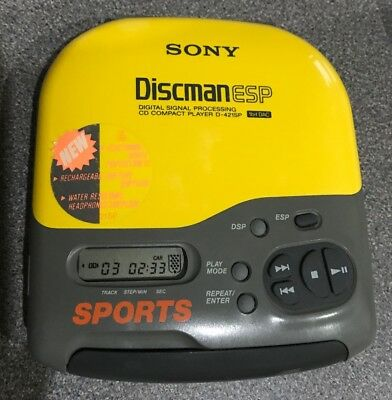 Sony Sports Discman ESP D-421SP Tested Working Yellow