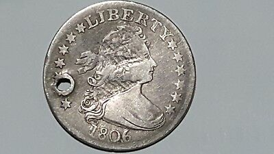1806/5 Draped Bust Silver 25 Cents  Good  Rare!  Bold Over Date