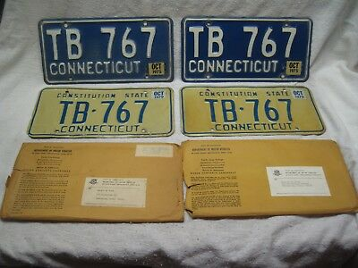 CONNECTICUT CT TWO SETS MATCHING PAIR  LICENSE PLATES 1960's 1970's