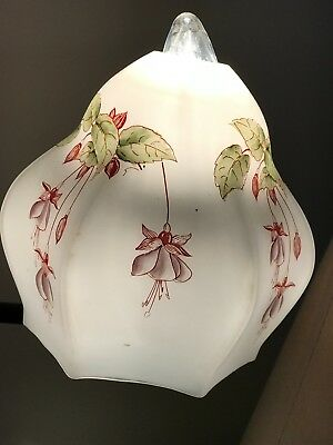 Lovely Vintage Glass Lampshade (Hand Painted)