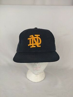 Vintage New Era Notre Dame Fighting Irish Navy Fitted Hat Size  7 1/2  NCAA