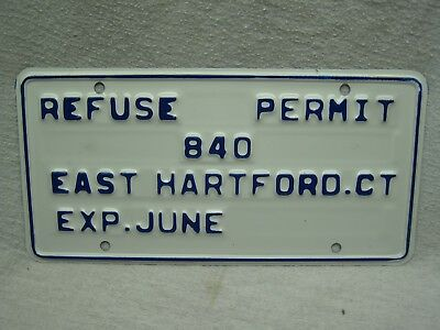 EAST HARTFORD CT  REFUSE PERMIT LICENSE PLATE NEW 1980's CONNECTICUT