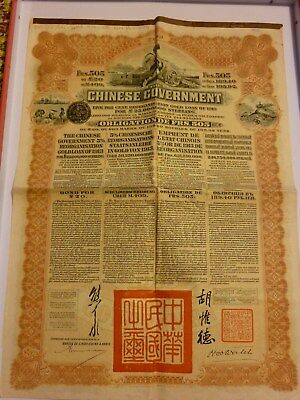 Obligation Chinese Government 5% -  Reorganisation Goldloan Of 1913