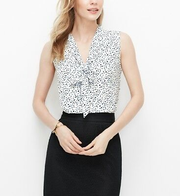 Ann Taylor Floral Printed Sleeveless Tie Neck Blouse Top Xs Cute