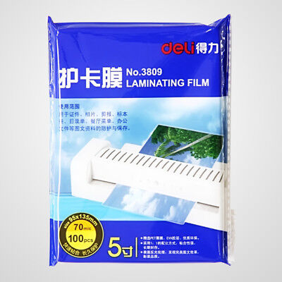 """100Sheets Deli 5"""" Laminating Film Pouch Glossy Protection Photo Paper 95 x 135mm"""