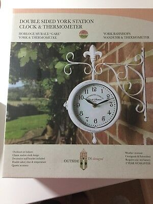 Outdoor Garden Station Double Sided Wall Clock - BRAND NEW IN BOX UNOPENED.