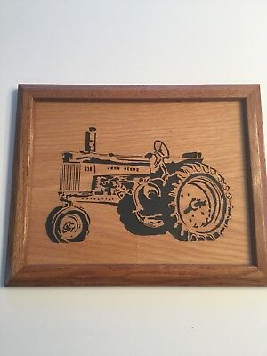 Framed Cut Out Picture of John Deere Tractor (12x10)