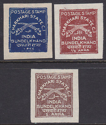 India Feud State Charkhari Mint Stamps incl 1 Anna chocolate