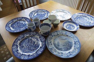 Mixed Collection of Blue and White Pottery 10 pieces