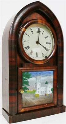 Antique American New Haven Mahogany Spring Driven Striking Gothic Mantel Clock