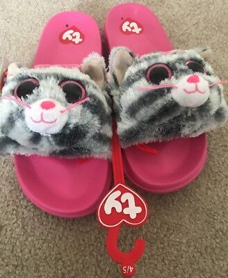 NEW Ty Beanie Baby Boos Kiki Kitty Cat bedroom Slippers Flip Flop size 4 5 94448d03552c