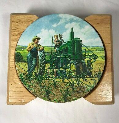 John Deere Father Son COASTERS WH Hinton Ceramic Cork Set of 4 CLEARANCE