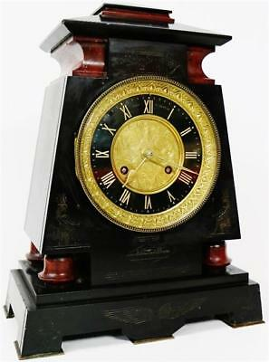 Antique French Slate & Marble Mantel Clock 8 Day Egyptian Architectural Design