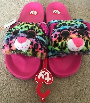 NEW Ty Beanie Baby Boos Dotty Leopard bedroom Slippers Flip Flop Girl s size  ... 25782e9e71fa