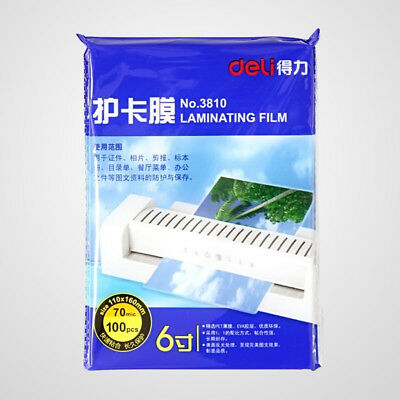 """100 Sheets Deli 6"""" Laminating Film Pouch Glossy Protect Photo Paper 110 x 160mm"""