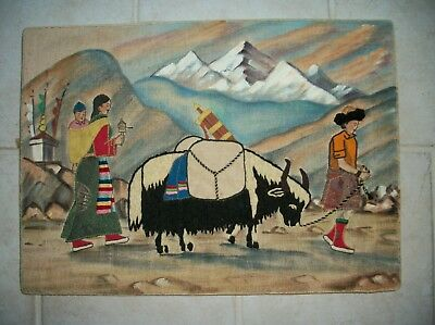 Vintage Mongolian Hand Crafted Hand Painted Picture Family with a Yak