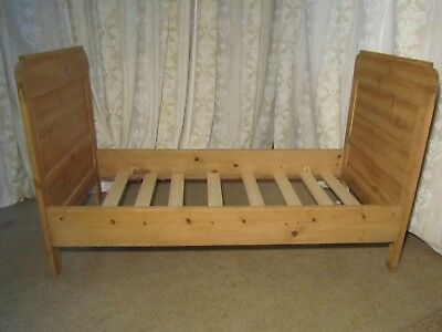 A 19th Century French Rustic Pine Single Sleigh Bed,
