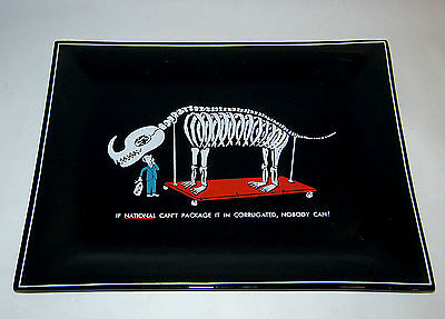 Vintage 1960s NATIONAL PACKAGING Permotional Advertising Glass Tray PALEONTOLOGY