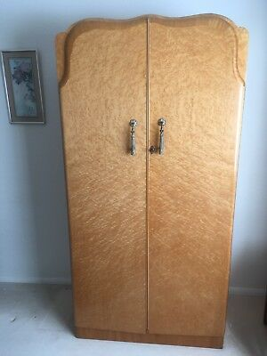 Retro Art Deco Style Wardrobe In Birdseye Maple Veneer