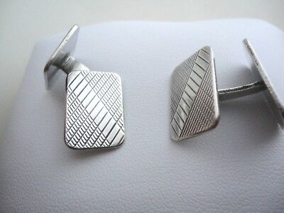 PAIR OF DUTCH SOLID SILVER ART DECO DOUBLE SIDED  CUFFLINKS c1933 J. HUGERVORST