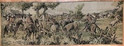 "Vintage Antique Western Cowboys TAPESTRY made in Belgium  53"" X 19"""