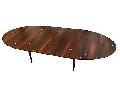 Authentic Finn Juhl Judas Dining Table for Niels Vodder in Rosewood + Silver