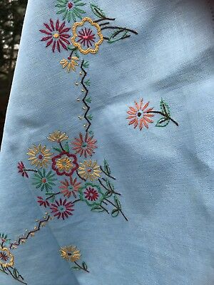 vintage Blue Hand embroidered tablecloth