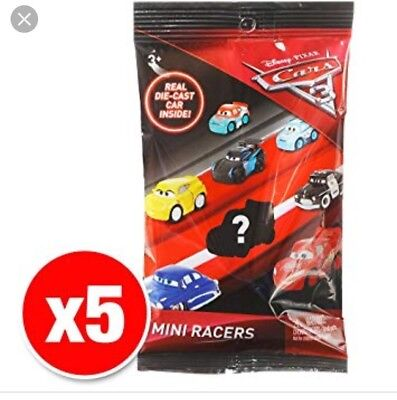 Disney Pixar Cars 3 Diecast Micro Mini Racers Blind Bag x 5