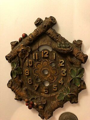"""Vintage Miniature LUX KEEBLER CLOCK Face SYROCO WOOD Part 4 7/8 X 3 3/4"""" Used"""